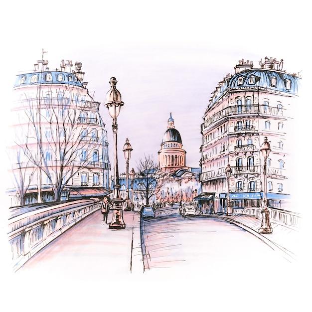 Brücke über den fluss seine pont louis philippe in der nähe der ile de la cite am wintermorgen, pantheon in paris, frankreich. bild gemachte marker Premium Fotos