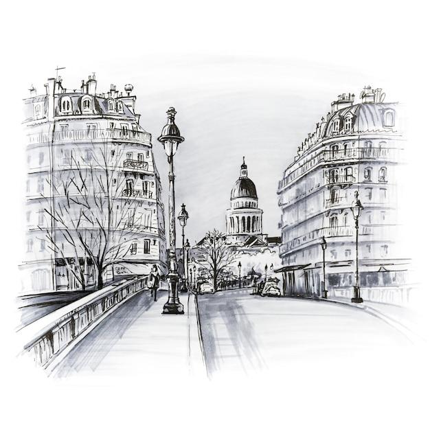 Brücke über den fluss seine pont louis philippe in der nähe der ile de la cite am wintermorgen, pantheon in paris, frankreich. schwarz-weiß-bild machte markierungen Premium Fotos