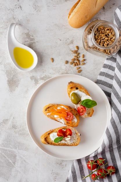 Bruschetta-scheiben zum frühstück Kostenlose Fotos
