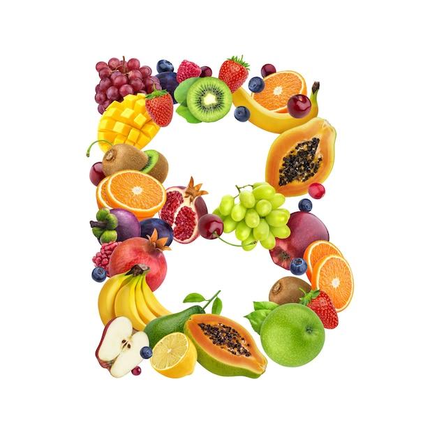 Buchstabe b aus verschiedenen früchten und beeren Premium Fotos