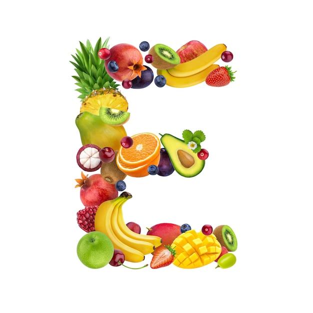 Buchstabe e aus verschiedenen früchten und beeren Premium Fotos