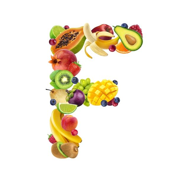 Buchstabe f aus verschiedenen früchten und beeren Premium Fotos