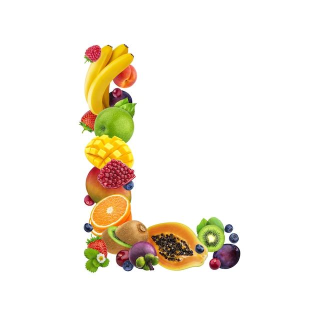 Buchstabe l aus verschiedenen früchten und beeren Premium Fotos