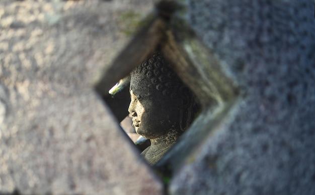 Buddha-statue innerhalb der pagode im borobudur-tempel, indonesien Premium Fotos