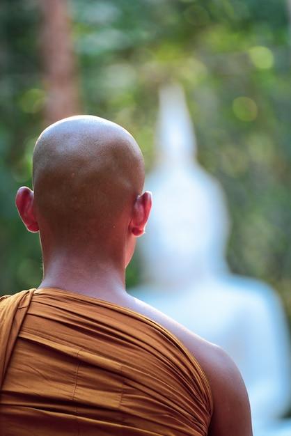 Buddhistischer mönch vipassana meditieren, um den verstand zu beruhigen und buddha-statue in thailand zu verwischen. Premium Fotos