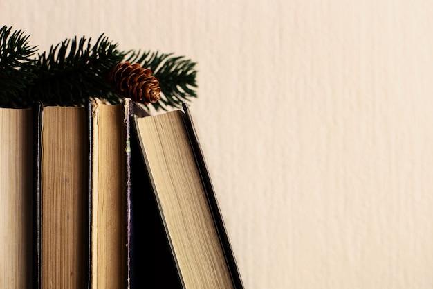 Bücher und weihnachtsbaum mit kegeln auf dem alten hölzernen regal. Premium Fotos