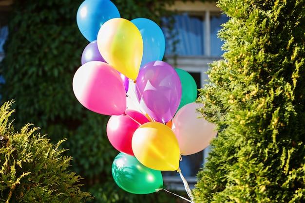 Bündel bunte ballone im grünen hintergrund. Premium Fotos