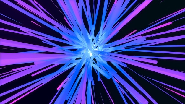 Bunte geometrische würfelstern-explosion 3d, abstrakter glühenquadrat-starburst-linienstrahlstrahl, digitaler hintergrund der kreativen geometrie Premium Fotos