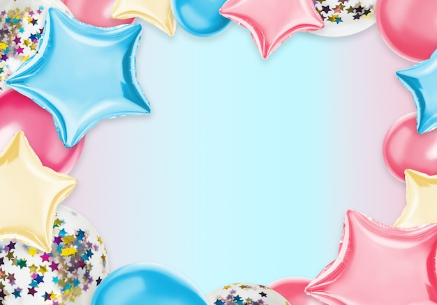 Bunte isolatballone auf einer pastellfarbe Premium Fotos