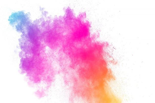 Bunte pulverexplosion. pastellfarbenstaubpartikel spritzen. Premium Fotos