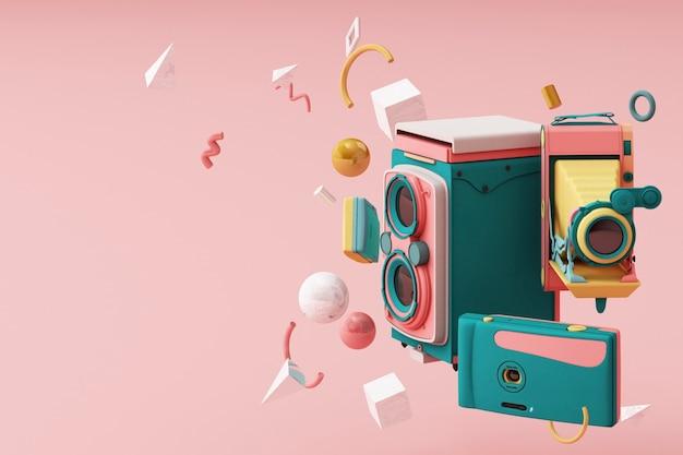 Bunte weinlesekamera, die durch memphis muster3d rendern umgibt Premium Fotos
