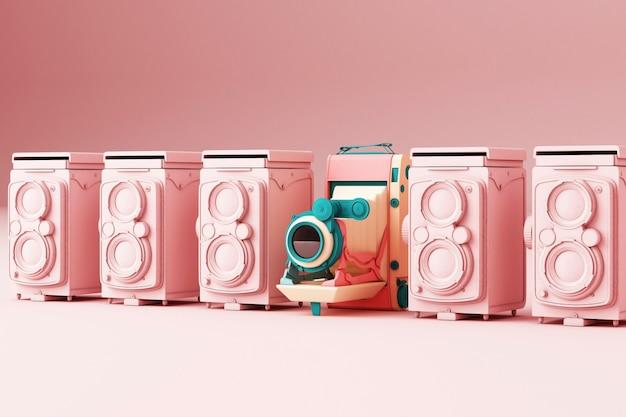 Bunte weinlesekamera, die durch rosa weinlesekamera auf einem rosa hintergrund 3d überträgt Premium Fotos