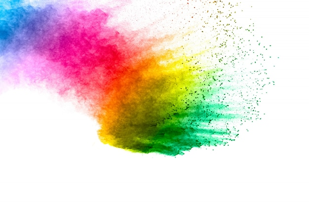 Bunter hintergrund der pastellpulver-explosion. mehrfarbiger staub spritzt auf weißem hintergrund. gemaltes holi. Premium Fotos