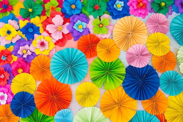 Bunter rosafarbener blumenpapierhintergrund des abstrakten tapetenregenbogens Premium Fotos