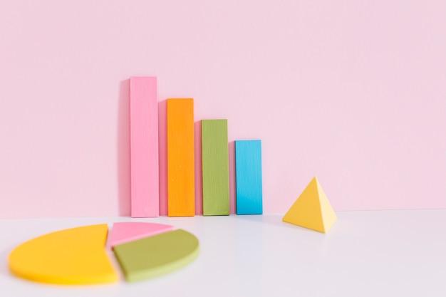 Buntes balkendiagramm; kreisdiagramm und gelbe pyramide auf schreibtisch über rosa hintergrund Kostenlose Fotos