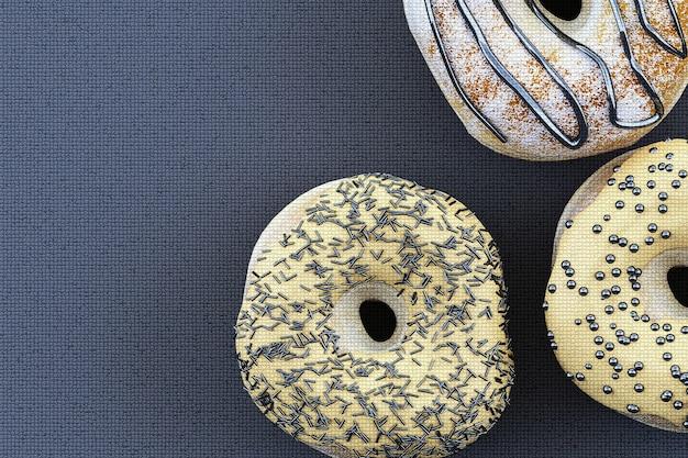 Buntes donut-grafikpixel auf grauem hintergrund. 3d-rendering Premium Fotos