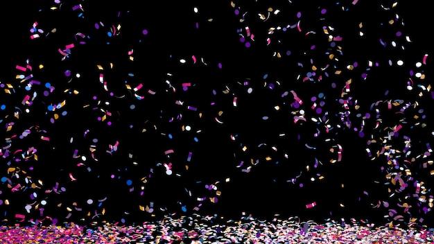 Buntes konfetti auf schwarzem hintergrund Premium Fotos