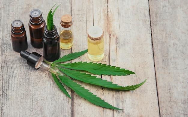Cannabiskraut und blätter zur behandlung von brühe, tinktur, extrakt, öl. tiefenschärfe. Premium Fotos