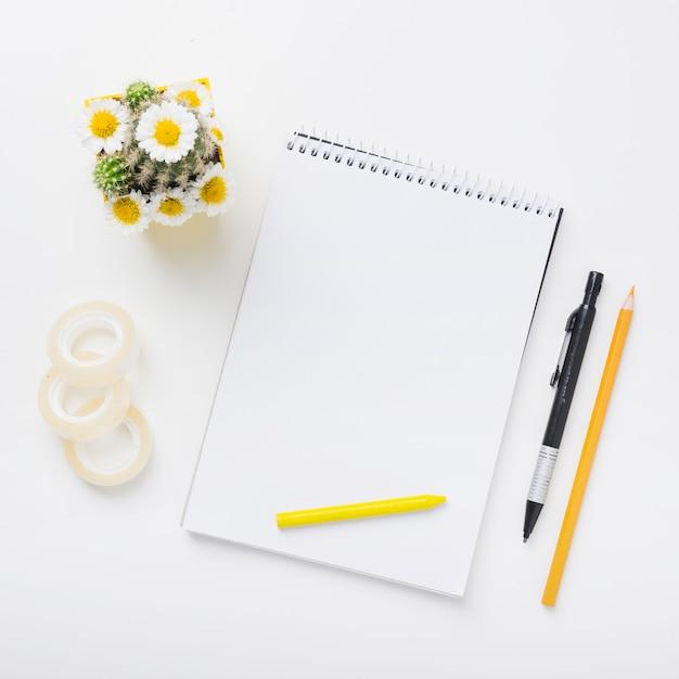 Celloband; kaktuspflanze und spiral notizblock mit buntstiften; stift und buntstift auf weißem hintergrund Kostenlose Fotos