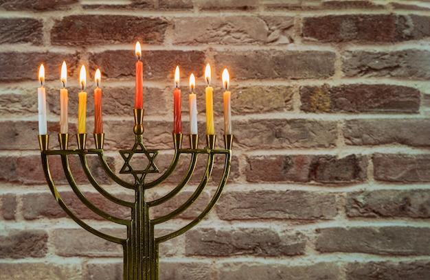 Chanukah menorah chanukiah jüdischer feiertagshintergrund Premium Fotos