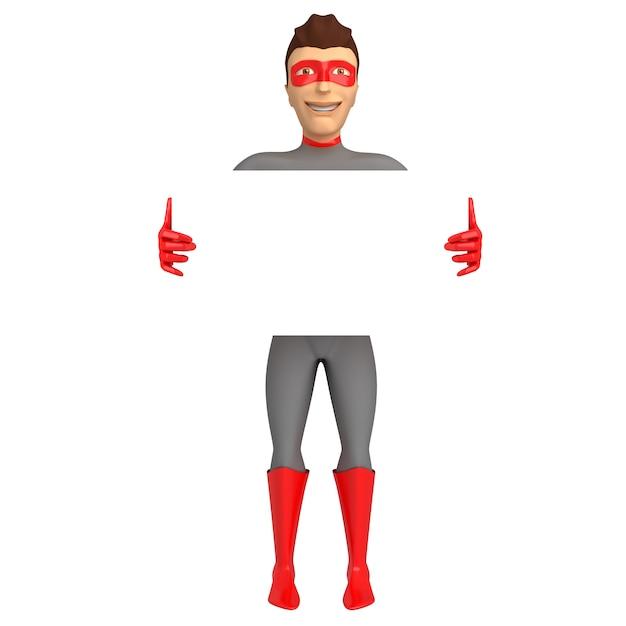 Charakter 3d in einem superheldkostüm mit seinen händen oben auf einem weißen hintergrund. 3d darstellung Premium Fotos