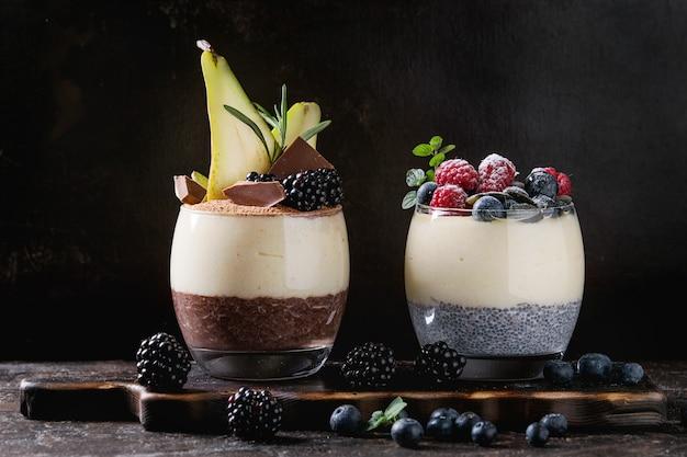 Chia-pudding mit reisbrei Premium Fotos