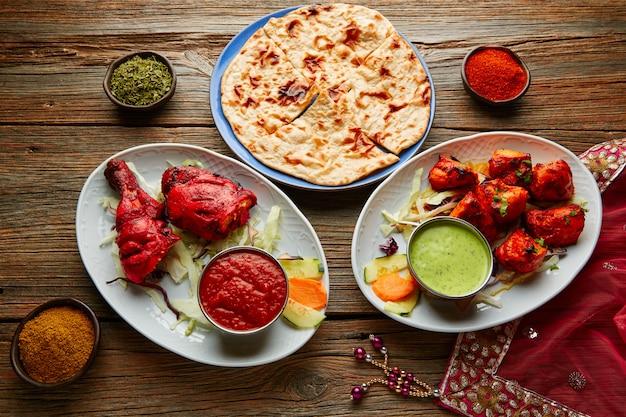 Chicken tandoori und chicken tikka Premium Fotos
