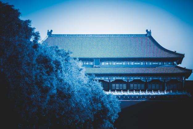 Chinesische alte palastarchitektur, teilweise perspektive Premium Fotos