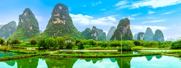 Chinesische skyline landschaft bambus tourismus flüsse Kostenlose Fotos