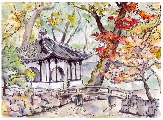 Chinesischer garten mit brücke und pagodenpavillon in suzhou, china Premium Fotos