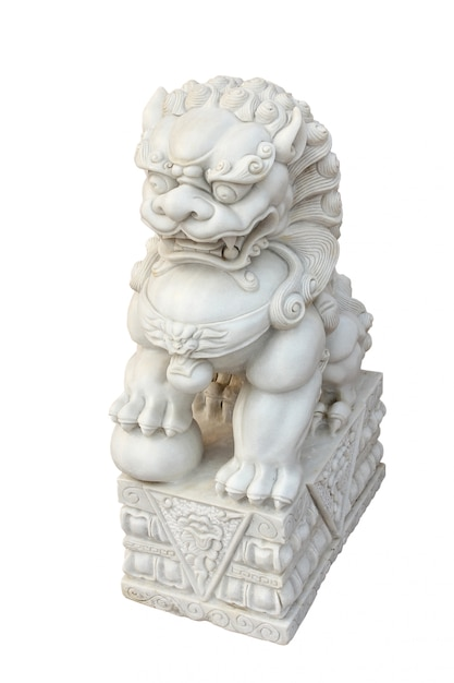 Chinesischer kaiser lion statue lokalisiert auf weiß Premium Fotos