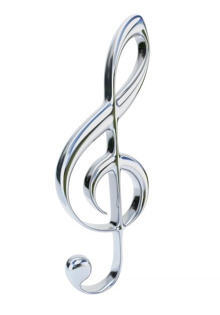 Chromviolinschlüssel lokalisiert auf weißem hintergrund. musikalisches symbol. Premium Fotos