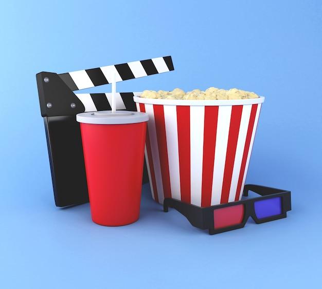 Clapper board, popcorn, getränk und gläser 3d im kino. Premium Fotos