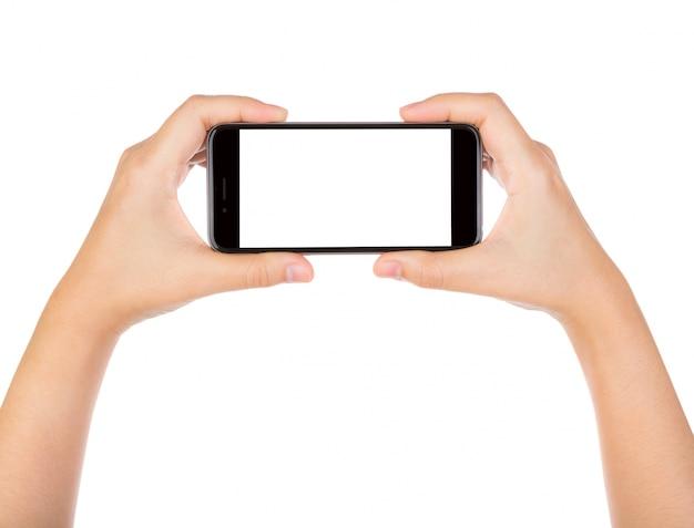 Close-up der Hände mit einem Smartphone Kostenlose Fotos
