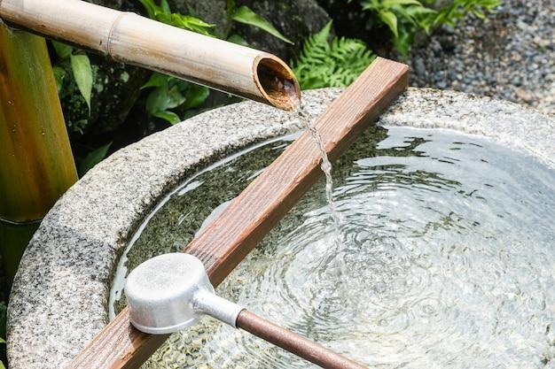 Close Up Von Einem Japanischen Bambus Brunnen Download Der