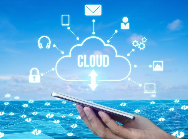 Cloud-computing-technologie und online-datenspeicherung für den globalen datenaustausch Premium Fotos