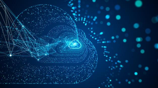 Cloud computing und big data-konzept. 5g-konnektivität von digitalen daten und futuristischen informationen. abstraktes highspeed-internet der dinge iot big data cloud computing. Premium Fotos