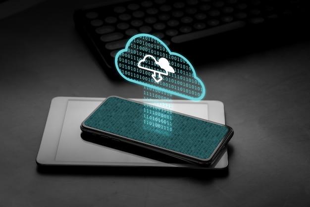 Cloud-technologie-symbol auf dem smartphone Premium Fotos