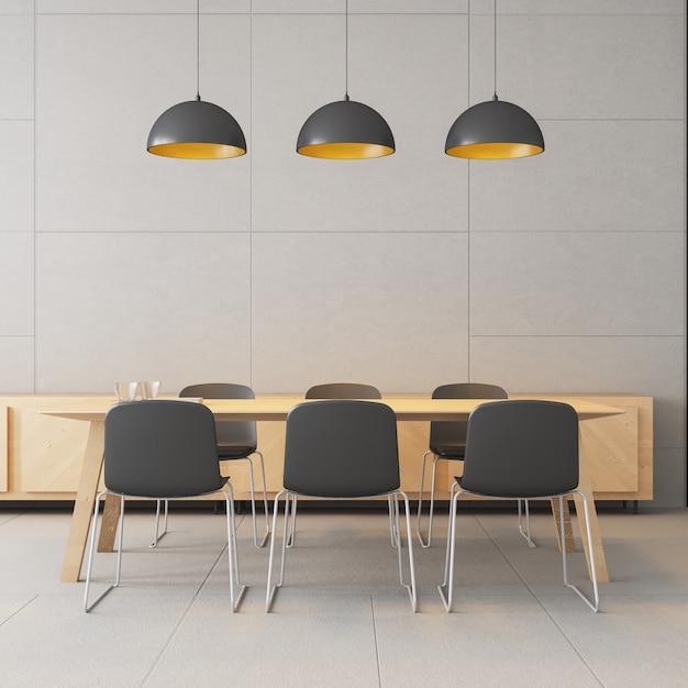 Co arbeitsbereich - modernes und loft / 3d-rendering-interieur Premium Fotos