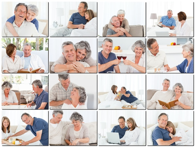 Collage der älteren umarmenden und entspannenden paare Premium Fotos