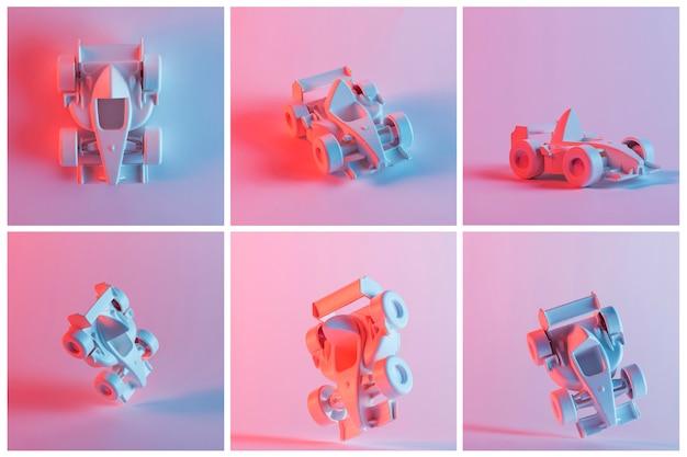 Collage des miniaturautos der weinleseformel 1 über dem rosa hintergrund Kostenlose Fotos