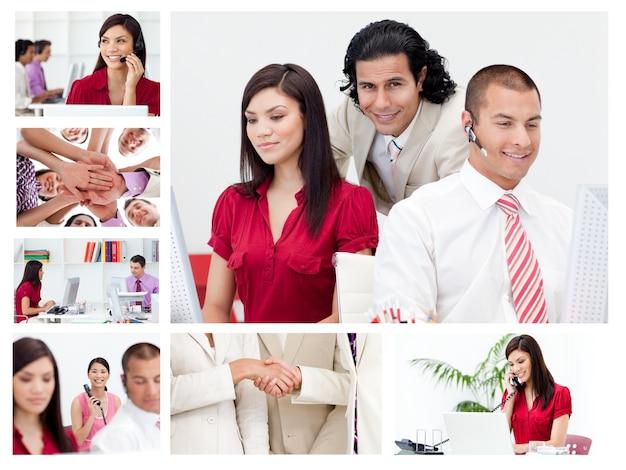 Collage von arbeitsgeschäftsleuten Premium Fotos