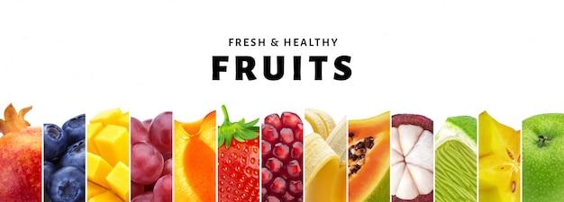 Collage von den früchten lokalisiert auf weiß mit kopienraum-, frischer und gesunderfrucht- und beerennahaufnahme Premium Fotos