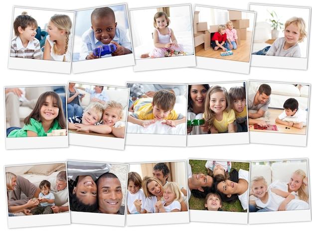 Collage von den netten kindern, die zu hause spielen Premium Fotos