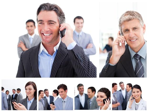Collage von geschäftsleuten, die mobiltelefone verwenden Premium Fotos
