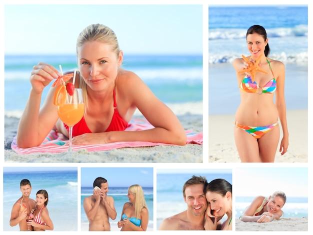 Collage von reizenden paaren und attraktive frauen auf einem strand Premium Fotos