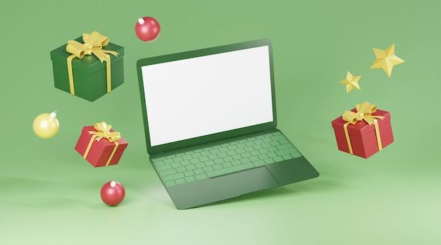 Computer leerer bildschirm und weihnachtsdekorationen Premium Fotos