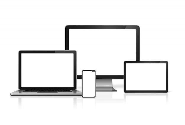 Computer und telefon stellen das modell ein, das auf weißem hintergrund mit leeren bildschirmen lokalisiert wird. 3d render Premium Fotos