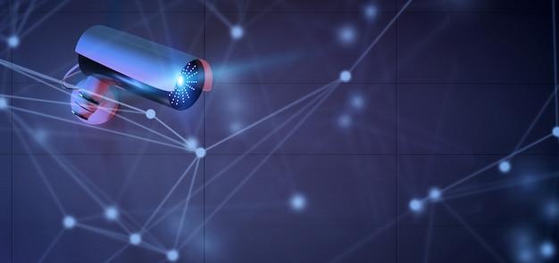 Conncetion über einem überwachungskamerasystem - wiedergabe 3d Premium Fotos
