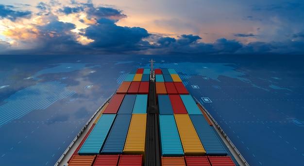 Containerfrachtschiff im importexportgeschäft logistisch auf digitaler weltkarte Premium Fotos